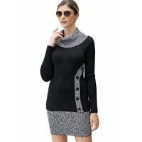 Black Gray Button Front Sweater Dress Khaki