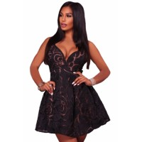 Black Rose Lace Illusion Sexy Skater Dress Red