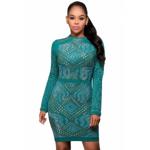 Blue Mini Jeweled Quilted Long Sleeves Dress