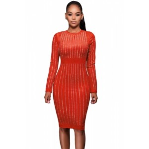 Orange Faux Suede Rhinestone Front Long Sleeves Dress