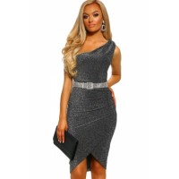Ray of Light Gray Lurex One Shoulder Ruched Midi Dress