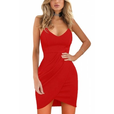 Red Spaghetti Straps Deep V Neck Sleeveless Bodycon Mini Dress black