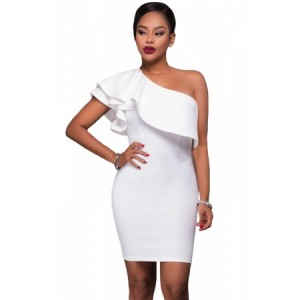 White Asymmetric Ruffled Neckline Bodycon Mini Dress