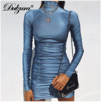 2018 autumn winter clothes long sleeve high neck Dress Blue Black