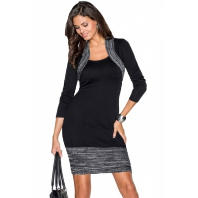 Black Feminine Knit Dress with Contrasting Color