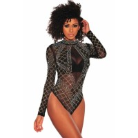 Black Rhinestone Studded Mesh Long Sleeves Bodysuit