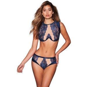 Blue Sheer Lace Mesh Cutout 2pcs Lingerie Set