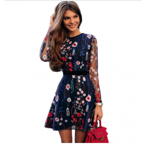 Floral Embroidery Dress Sheer Mesh Summer Boho Mini A-line Dress See-through Black Blue