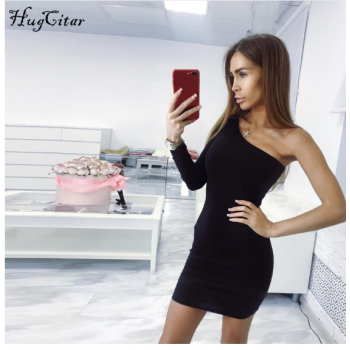 One shoulder slope long sleeve high waist sexy bodycon dresses Black Red