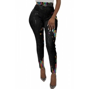 Black High Waist Retro Sequin Leggings