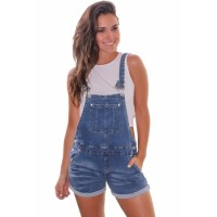Blue Girly Fashion Denim Short Overalls
