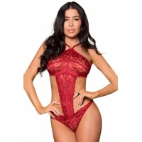 Romantic Red Teddy Lingerie Black