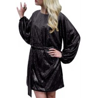 Black Oversized Caftan Mini Dress In Sequin Blue Gray
