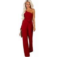 Burgundy Asymmetric One Shoulder Wide Leg Solid Jumpsuit