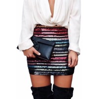 Multicolor High Waist Sequin Mini Skirt
