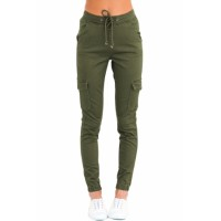 Army Green Drawstring Ankle Pocket Denim Jeans