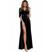 Black Surplice V Neck Velvet Party Gown with Belt Blue Green