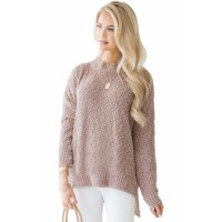 Pink Cozy Fall Popcorn Pullover Sweater