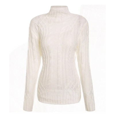 Elegant Turtleneck Twist Wave Solid Color Thick Pullover Sweater For Women