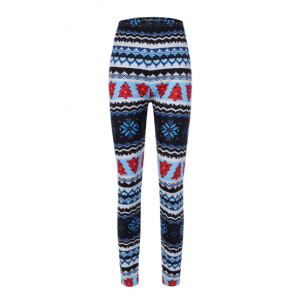 Pine Tree Pattern Christmas Leggings - Blue