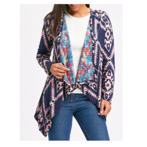 Retro Style Collarless Long Sleeve Loose-Fitting Ethnic Print Cardigan For Women - Purplish Blue
