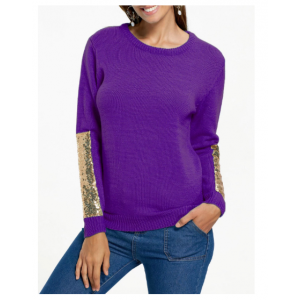 Sequin Panel Pullover Knit Sweater - Purple
