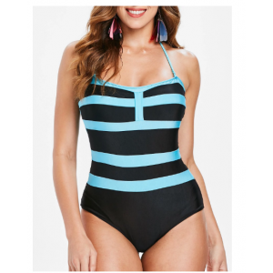 Sexy Sleeveless Halter Color Block One-Piece Swimwear For Women - Black