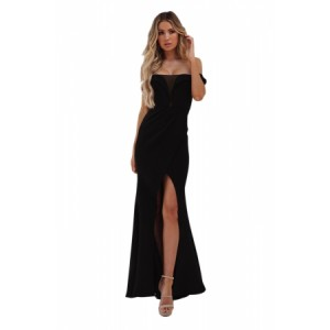 Black Off Shoulder Split Front Maxi Party Dress Pink