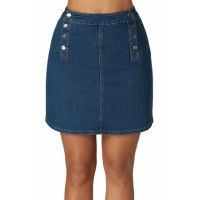 Blue Double Breasted Functional Button Jeans Skirt