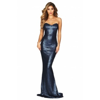 Spellbound Strapless Gown Black Blue