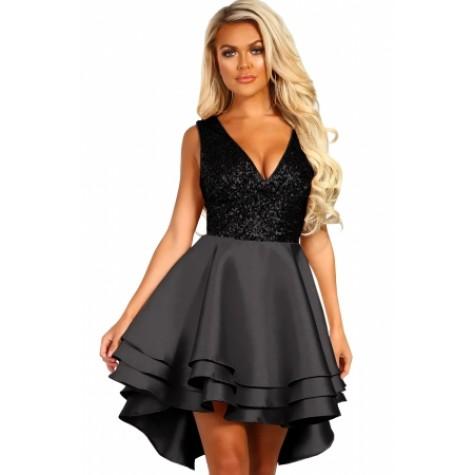 aea971e19e7 Heart Broken Black Gold Sequin Multi Layer Skater Dress Zoom. Heart ...