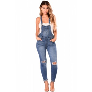 Medium Blue Wash Knee Slit Denim Overalls
