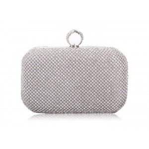 Elegant Style Women's Evening Handbag With Metal Chain and Rhinestones Design