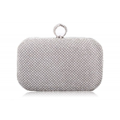 Elegant Style Women's Evening Handbag With Metal Chain and Rhinestones Design