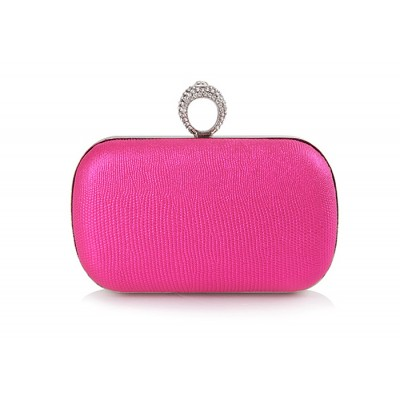 Elegant Women's Evening Bag With Solid Color and Rhinestones Design