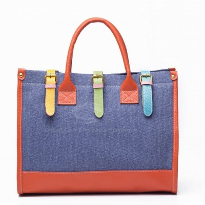 Fashion and Casual Women's Handbag With Color Block and Buckle Design