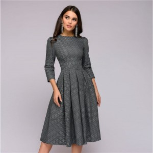 Casual Printing Party Dress Ladies Autumn Summer Vintage