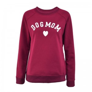 Dog Mom Women's Plus Velvet Fashionable Long Sleeve Casual Sweatshirt Printing Heart-shaped