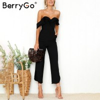 Backless off shoulder black jumpsuit women Tiered ruffle high waist
