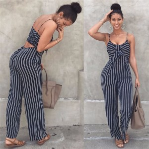 Blue Bodycon Backless Stripe Jumpsuits Women
