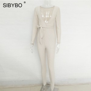 Deep V-Neck Skinny Bandage Rompers Womens Jumpsuit Autumn Winter Long Sleeve Jumpsuit