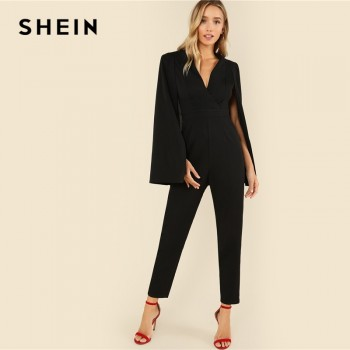Plunging V Neck Cloak Long Sleeve Solid High Waist Maxi Jumpsuit