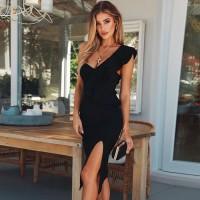 Evening Party Dresses Sexy One Shoulder Ruffles