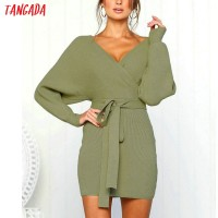 Knitted mini dress autumn winter ladies sexy green sweater dress long sleeve