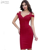 V Neck Off Shoulder Celebrity Party Dress Bandage