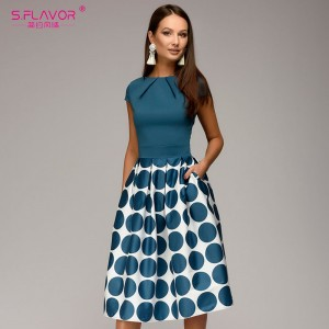 Vintage women wave point dress Hot Sale short sleeve patchwork A-line
