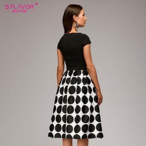 375224a784e22 Vintage women wave point dress Hot Sale short sleeve patchwork A ...