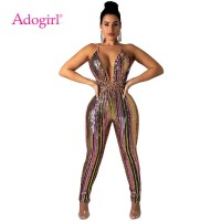 Colorful Stripe Sequins Bandage Jumpsuit Sexy Deep V Neck Spaghetti Straps Jumpsuit