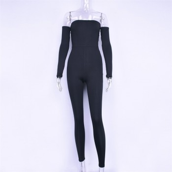 Long sleeve slash neck high waist sexy jumpsuit