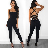 Backless Rompers Skinny Female Jumpsuits For Women Casual Black One Piece Bodysuit